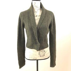 BCBG Crop Wool Cardigan Sweater Long Sleeves Top M